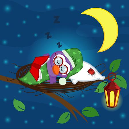 lullaby: p�jaro duerme en un nido - ilustraci�n vectorial
