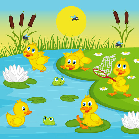 children pond: ducklings playing in lake - vector illustration, eps Illustration