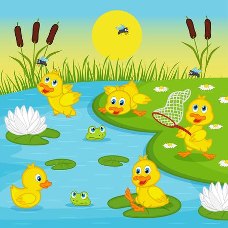 eendjes spelen in lake - vector illustratie, eps Stock Illustratie