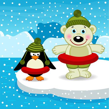 floe: polar bear and penguin go swimming - vector illustration, eps