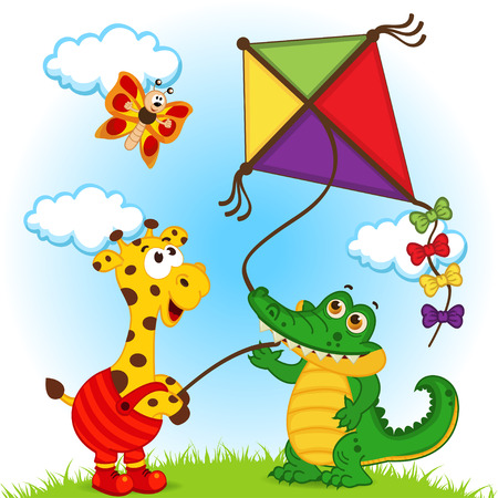 air animals: giraffe and crocodile launching a kite - vector illustration