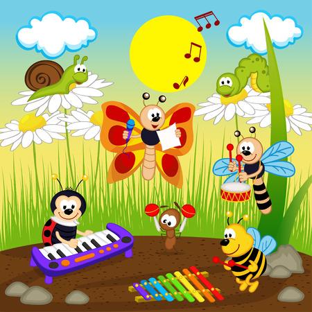 mariquitas: músicos insectos - ilustración vectorial, eps