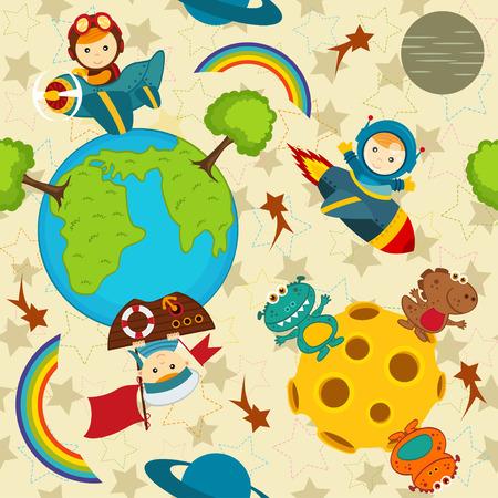 Het naadloze patroon van de baby jongen in de ruimte vector illustratie eps Stock Illustratie