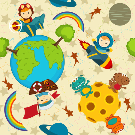 cartoon earth: seamless pattern baby boy in space vector illustration eps Illustration