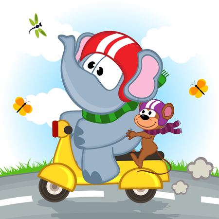 animal vector: elephant and mouse riding scooter - vector illustration, eps