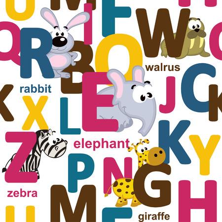 alfabeto con animales: sin patrón de las letras