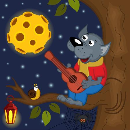 arboles de caricatura: lobo en luna llena juega guitarra - ilustración vectorial, eps
