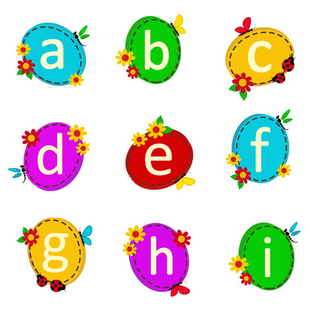 literate: alphabet oval from A to I - vector illustration,