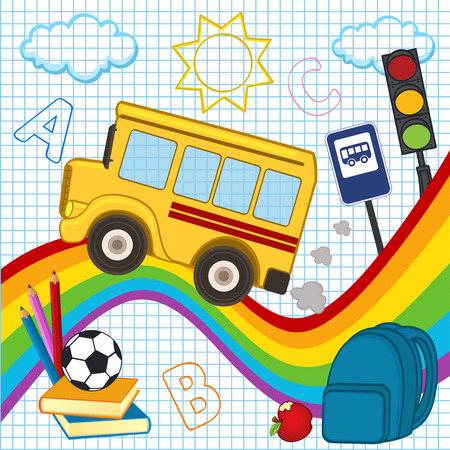 rainbow traffic light: school bus travels over the rainbow - vector illustration.