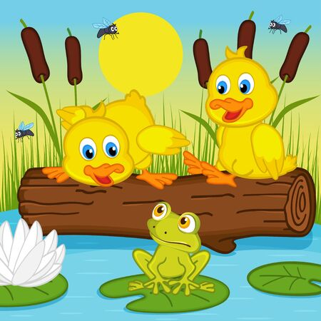 children pond: ducklings looking at frog - vector illustration, eps