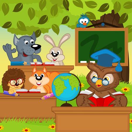 sentarse: los animales se sientan en pupitres en el bosque - ilustración vectorial, eps Vectores