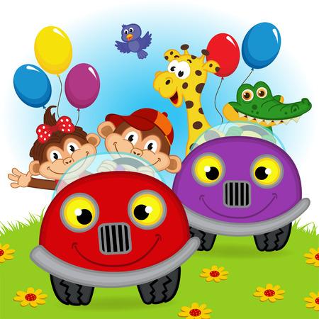 niña: animales que viajan en los coches - ilustración vectorial, EPS Vectores