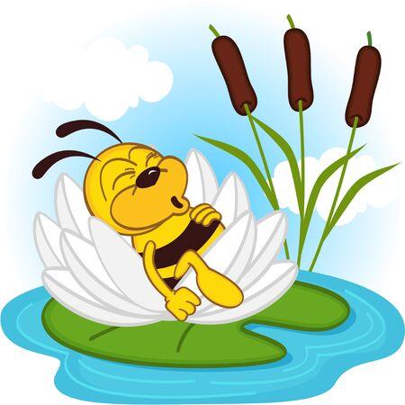 flor caricatura: dormir abeja en un lirio - ilustración vectorial, eps