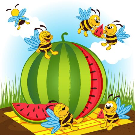 fruit cartoon: bees and watermelon - vector illustration, eps
