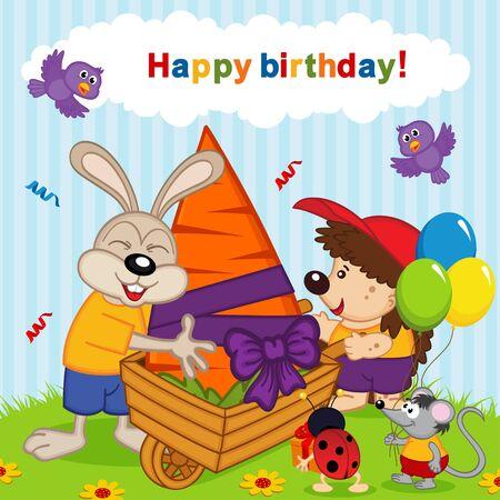 cartoon hedgehog: birthday rabbit - vector illustration, eps