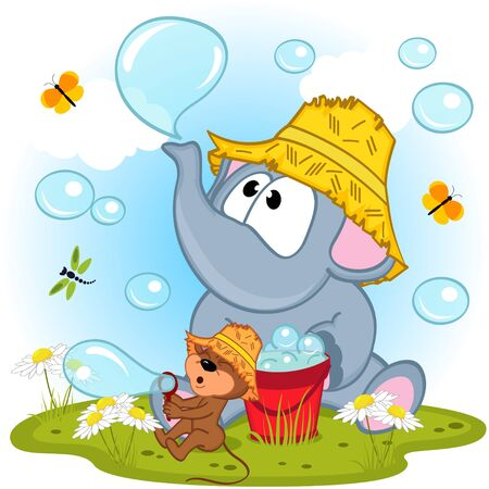 inflated: elephant and mouse inflated bubbles - vector illustration, eps