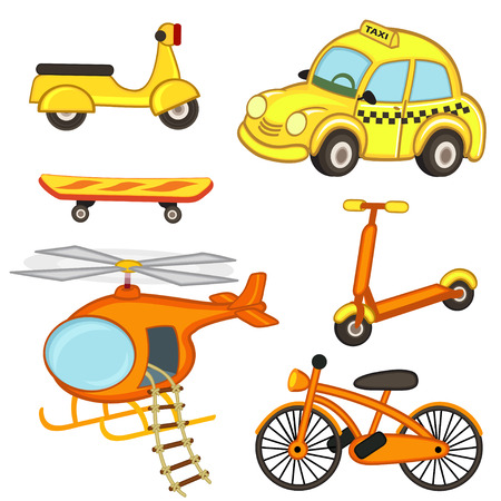 carro caricatura: conjunto de transporte aislado - ilustración vectorial, EPS