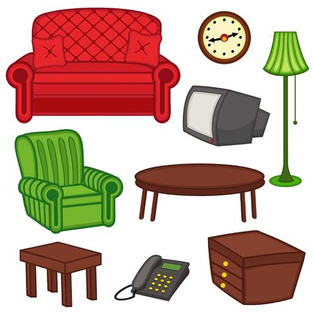 nightstand: set of isolated interior - vector illustration