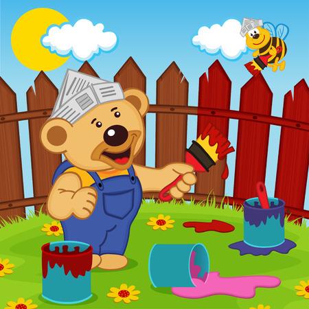 vector illustration: teddy bear and bee painter - vector illustration,