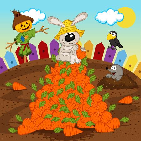 rabbit harvesting carrot - vector illustration, eps
