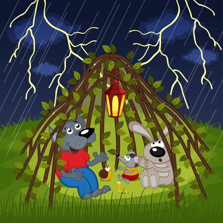 hide: animals hide from storm - vector illustration, eps