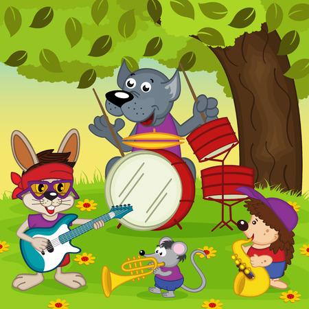 animal: animal musicians - vector illustration, eps