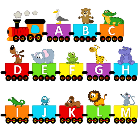 train cartoon: alphabet train animals from A to M - vector illustration, eps