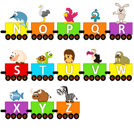 alphabet train animals from N to Z - vector illustration, eps