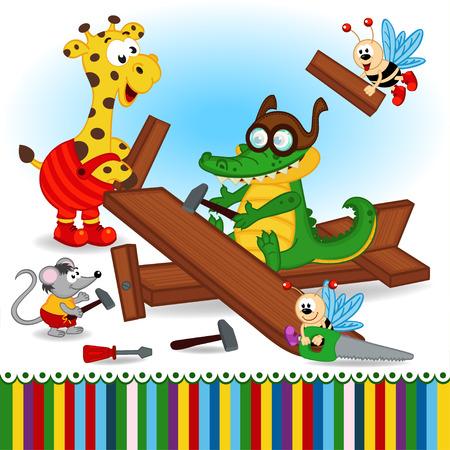 cartoon hand: animals build wooden plane - vector illustration, eps