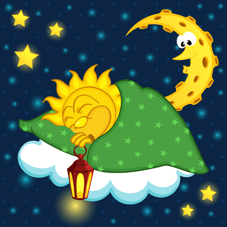 slumber: sun sleeping on cloud - vector illustration, eps Illustration