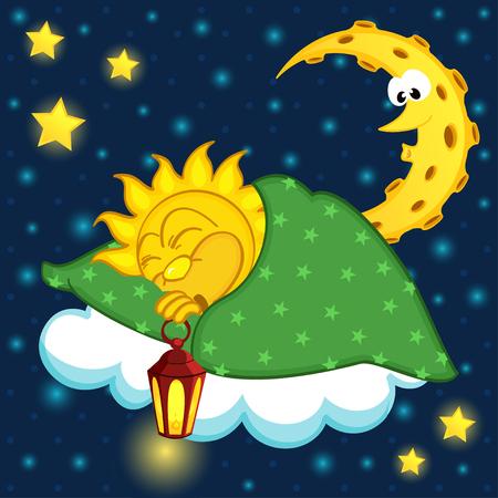 lullaby: sun sleeping on cloud - vector illustration, eps Illustration