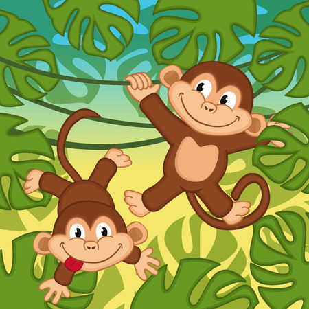 jungle jumping: monkey in jungle - vector illustration, eps