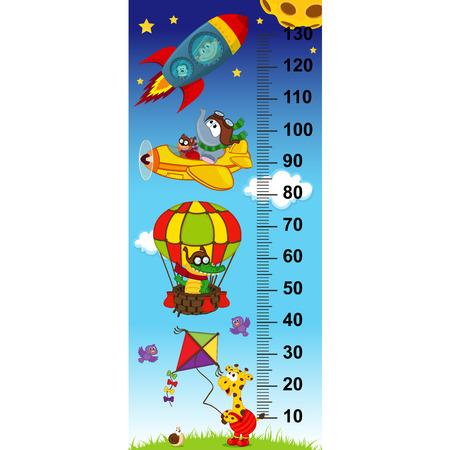 pravítko: výška nebe measurein původní poměr 1: 4 - vektorové ilustrace, eps