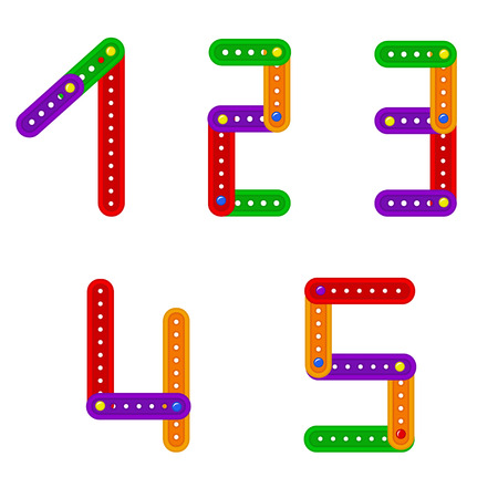 constructor: set of numbers from constructor from 1 to 5 - vector illustration
