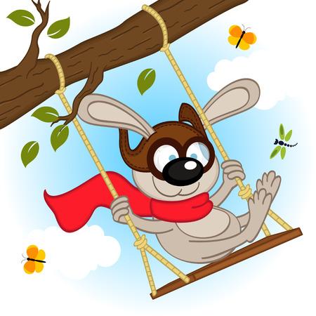 butterfly tree: rabbit on swing on tree branch - vector illustration