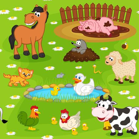gusano caricatura: sin patrón con animales de granja - ilustración vectorial, EPS