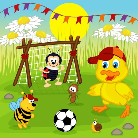 insect: duckling and insects play football - vector illustration, eps