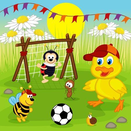 insecto: patito y los insectos juegan al fútbol - ilustración vectorial, EPS
