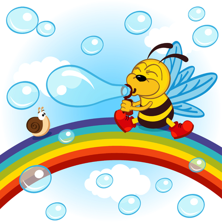 colourful sky: Bee on rainbow inflated bubbles - vector illustration, eps Illustration
