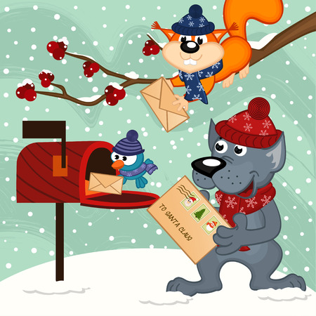 send: animals send letters to Santa Claus - vector illustration Illustration