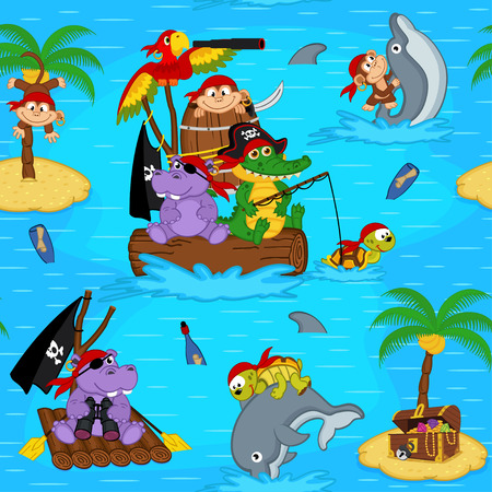 seamless pattern with animals pirates