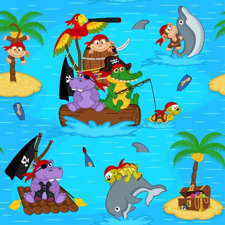 hippopotamus: sin patrón con animales piratas Vectores