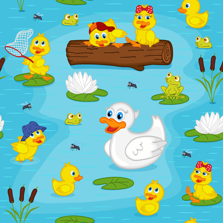 seamless pattern with ducks on lake