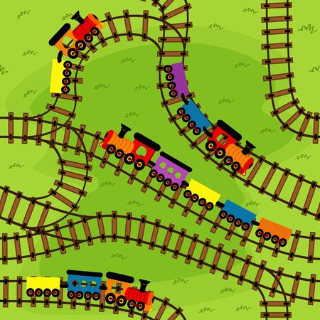 railway: seamless pattern railway with trains
