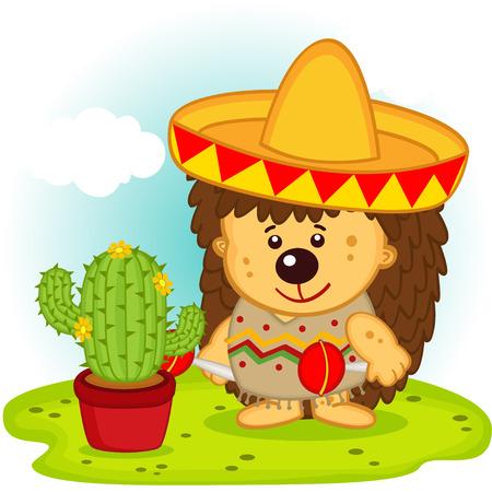 cartoon hedgehog: hedgehog and cactus on the Mexican fiesta