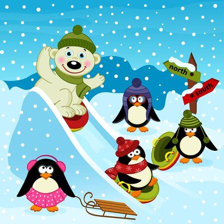 ice slide: polar bear and penguin on an ice slide - vector illustration, eps