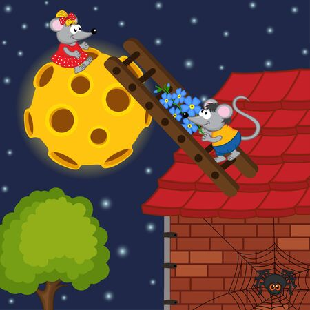 worker cartoon: rat�n sube por la escalera a la luna - ilustraci�n vectorial, eps Vectores