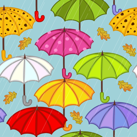 wet leaf: seamless pattern with umbrella