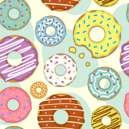 seamless pattern with donuts - vector illustration, eps  イラスト・ベクター素材