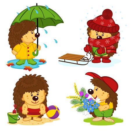 hedgehog and the four seasons - vector illustration, eps Illustration